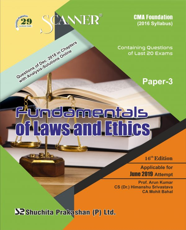 CMA Foundation Scanner (2016 Syllabus) Paper-3 Fundamentals of Laws and Ethics Regular Edition