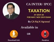 CA INTER/IPCC Taxation- Income Tax & Indirect Tax AY 2019-20 Video Lecture/Pendrive Class By CA Raj K Agrawal