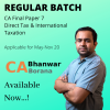 CA Final Paper 7 – Direct Tax & International Taxation (Regular Batch) Old & New Syllabus By CA Bhanwar Borana